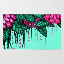 Beautiful Bold Pink Green Delicate Hanging Flowers Rug