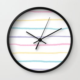 Pastel colors lines pattern Wall Clock