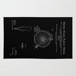 High Wheel Bicycle Patent - Black Rug