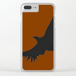 COFFEE BROWN FLYING BIRD SILHOUETTE Clear iPhone Case