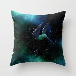 Space Hummingbird Throw Pillow
