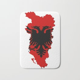 Albania Map with Albanian Flag Bath Mat