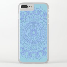 Bohemian Mandala in Beautiful Light Blues Clear iPhone Case