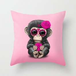 Pink Day of the Dead Sugar Skull Baby Chimp Throw Pillow