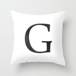 Letter G Initial Monogram Black and White Throw Pillow