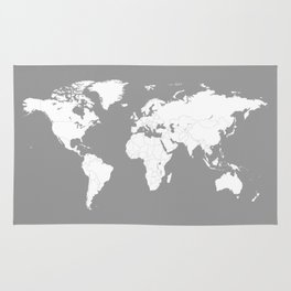 Minimalist World Map in Grey Rug