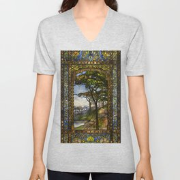 Louis Comfort Tiffany - Decorative stained glass 14. Unisex V-Neck