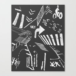Traffic - crosswalks and bike lanes in NYC Canvas Print