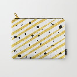 Gold glitter stars dots and stripes Carry-All Pouch
