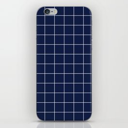 Indigo Navy Blue Grid iPhone Skin