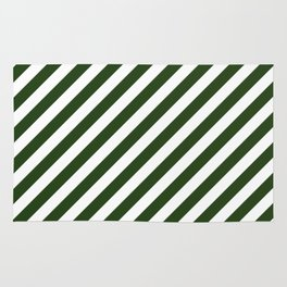Large Dark Forest Green and White Candy Cane Stripes Rug