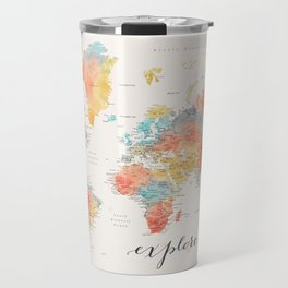 """Explore"" - Colorful watercolor world map with cities Travel Mug"