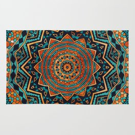 Blue and Gold Mandala Rug