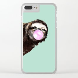 Bubble Gum Sneaky Sloth in Green Clear iPhone Case