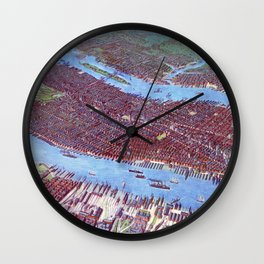 NEW YORK CITY Manhattan city old map Father Day art print poster Wall Clock