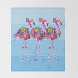 A Small Flock of Flamingos Throw Blanket