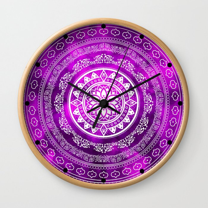 'Purple Destiny' Purple & White Flower Of Life Boho Mandala Design Wall Clock