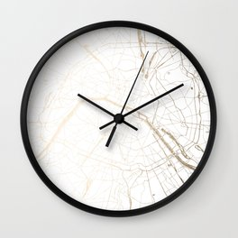 Paris Gold and White Street Map Wall Clock