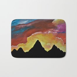 Everest Silhouette - Abstract Sky Oil Painting Bath Mat