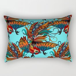 rooster ink turquoise Rectangular Pillow