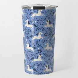 Floral Ponies (Light Blue) Travel Mug