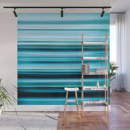 Turquoise Color Abstract Horizontal Lines #decor #society6 #buyart Wall Mural