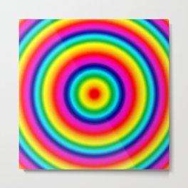 Psychedelic Rainbow Circles Pattern  Metal Print