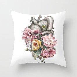 Floral Anatomy Heart Throw Pillow