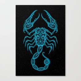 Blue Scorpio Zodiac Sign in the Stars Canvas Print