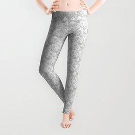 Stegosaurus Lace - White / Silver Leggings