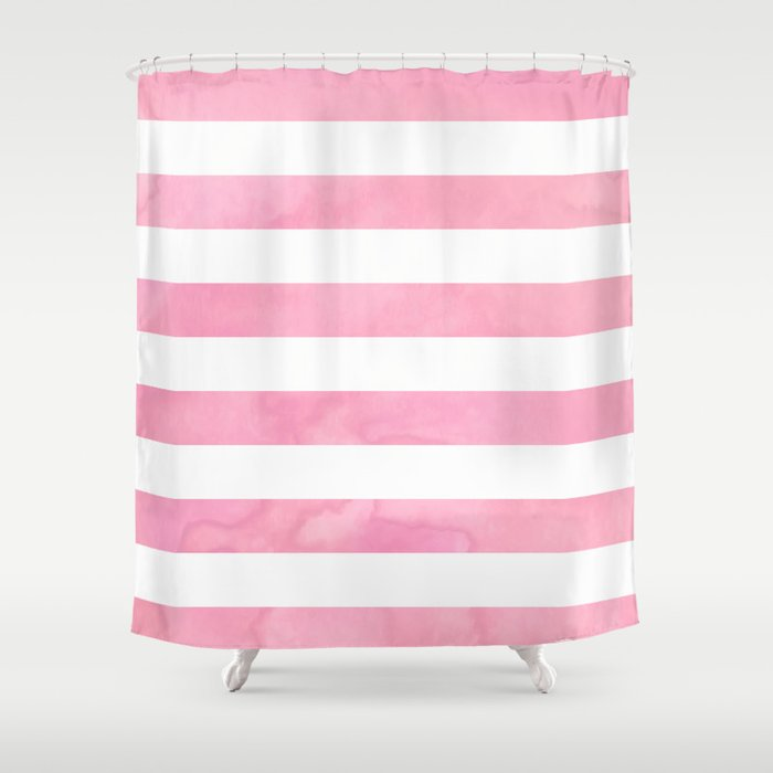 Pink Watercolor Stripe Shower Curtain