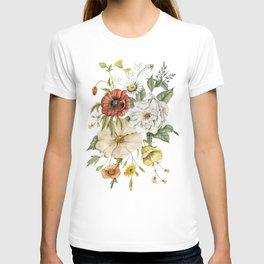 Wildflower Bouquet on White T-shirt