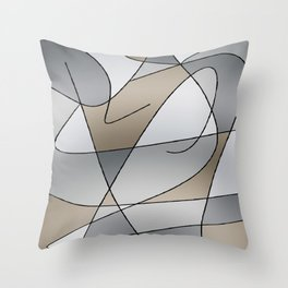 ABSTRACT CURVES #2 (Grays & Beiges) Throw Pillow