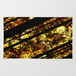 Gold Bars - Abstract, black and gold metallic, textured diagonal stripes pattern Rug
