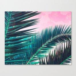 Nostalgic Palm Leaves on Pink #homedecor #buyart Canvas Print