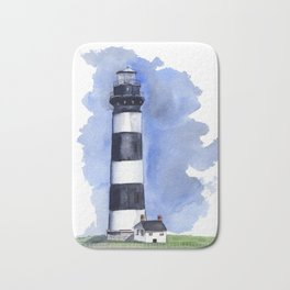 Bodie Island Lighthouse loose watercolor painting Bath Mat