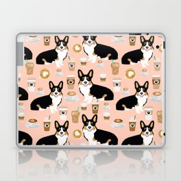 Welsh Corgi tri colored coffee lover dog gifts for corgis cafe latte pupuccino corgi crew Laptop & iPad Skin
