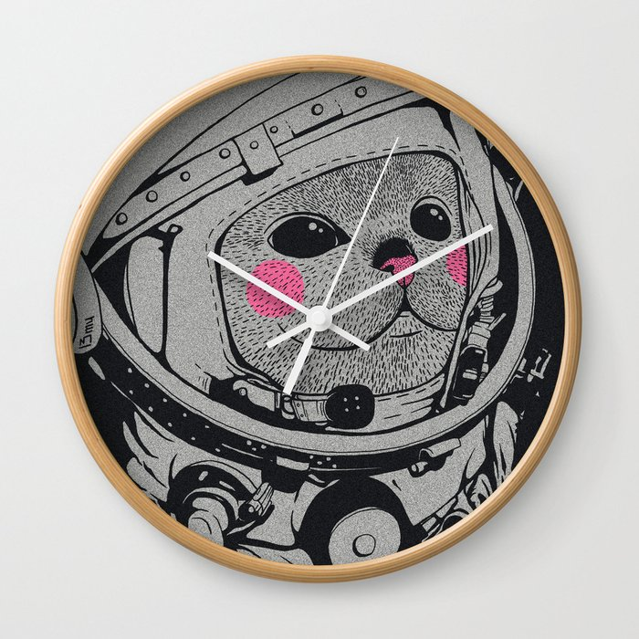 Spaceman cat Wall Clock