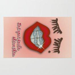 Shiny Braces, Red Lips, Mole, and Thick Eyelashes Rug