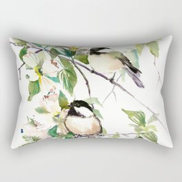 Chickadees and Dogwood Flowers Rectangular Pillow