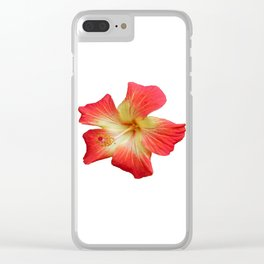 Gorgeous Red And Gold Hawaiian Hibiscus Flower No Text Clear iPhone Case