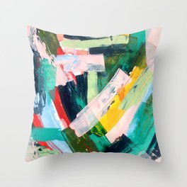 Livin' Easy - a bright abstract piece in blues, greens, yellow and red Throw Pillow