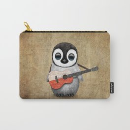 Baby Penguin Playing Polish Flag Acoustic Guitar Carry-All Pouch