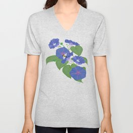 Glory Bee - Vintage Floral Morning Glories and Bumble Bees Unisex V-Neck