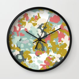 Rumor - Abstract painting, design pink mustard blue painterly design Wall Clock