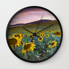 Wonderful Sunflowers. Pink Sunrise Wall Clock