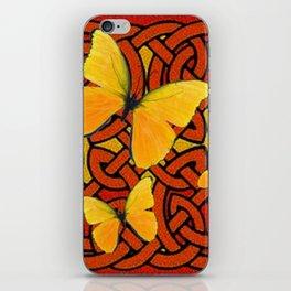 COFFEE BROWN YELLOW BUTTERFLIES CELTIC ART PATTERN  ART iPhone Skin