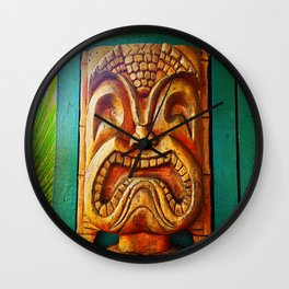 Crazy, fun, fierce, Hawaiian retro wood carving tiki face close-up photo Wall Clock