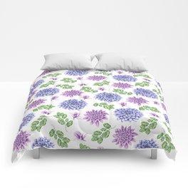 Artistic purple blue green watercolor elegant peonies floral Comforters