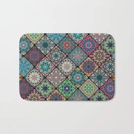 Vintage patchwork with floral mandala elements Bath Mat